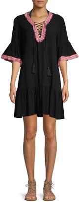 La Moda Clothing Fringe-Trimmed Bell-Sleeve Coverup