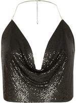River Island Womens Black chainmail halter cowl neck top