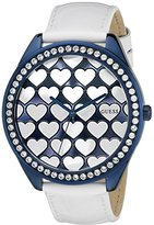GUESS Women's U0535L2 Iconic Blue & White Dazzling Hearts Over-Sized Watch