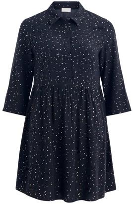 Vila Short Flared Shirt Dress in Polka Dot with Long Sleeves