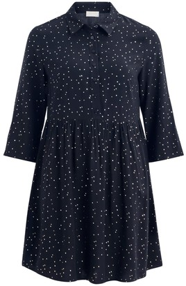 Vila Short Flared Shirt Dress in Polka Dot with Long Sleeves