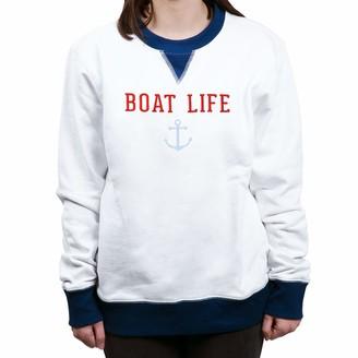 Pavilion Gift Company Boat Life - Medium Unisex Cozy Soft Lake Or Beach Pullover Sweatshirt Blue