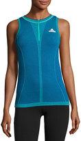 adidas by Stella McCartney Barricade Tennis Quarter-Zip Knit Tank Top, Hyper Green/Bold Blue