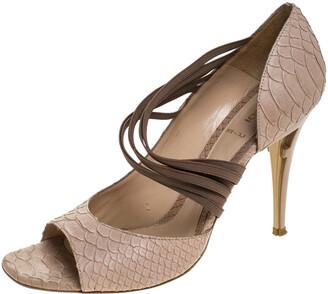 Fendi Beige Python Embossed Leather Open Toe Sandals Size 41