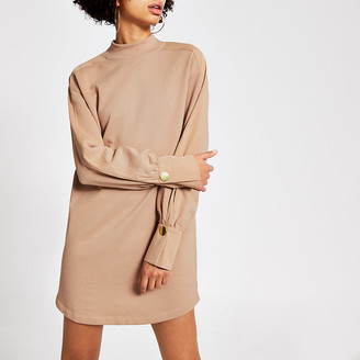 River Island Beige long sleeve high neck sweatshirt dress