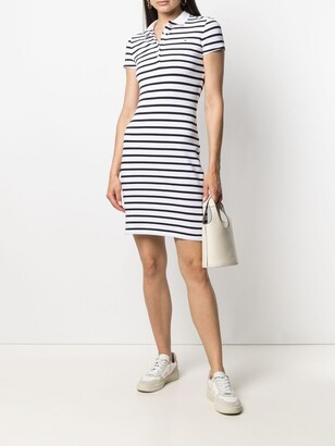 Stripe-Print Fitted Polo Dress