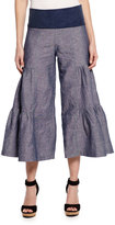 XCVI Cropped Tiered Denim Palazzo Pants