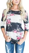 Annflat Women's 3 4 Sleeve Floral Print T-Shirts Casual Striped Blouse Tops XX-Large