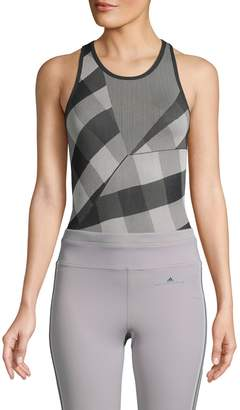 adidas by Stella McCartney Checkered-Print Racerback Bodysuit