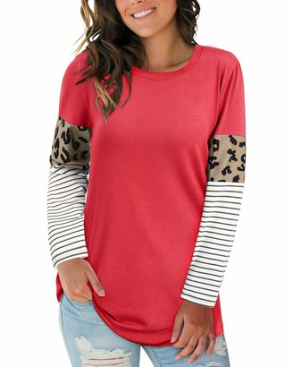 LAISHEN Women's Leopard Print Patchwork Color Block Tunic Round Neck Long Sleeve T Shirts Striped Causal Blouses Tops(White M)