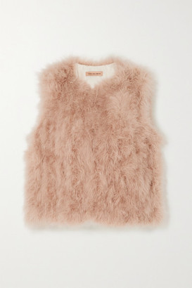 Yves Salomon Feather Vest - Pastel pink