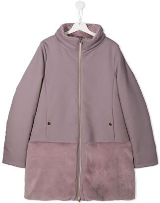 Herno TEEN contrast panel zip-up coat