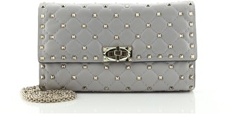 Valentino Rockstud Spike Wallet on Chain Quilted Leather Small