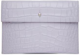 Alexander McQueen Purple Croc Envelope Pouch