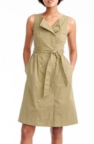 J.Crew Petite Women's Garment Dyed Utility Dress With Tie