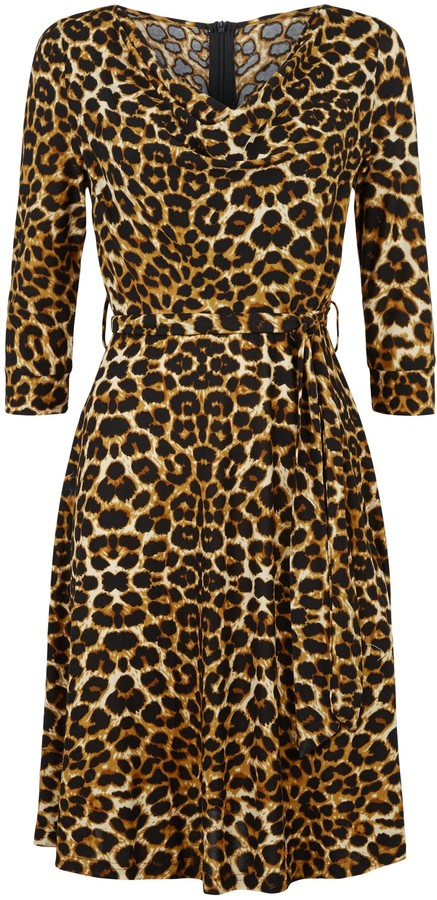 Thumbnail for your product : New Look Blue Vanilla Leopard Print Cowl Neck Dress