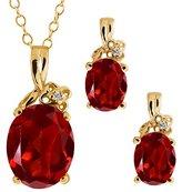 Gem Stone King 5.67 Ct Genuine Oval Red Garnet Gemstone 14k Yellow Gold Pendant Earrings Set
