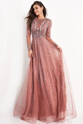 Jovani Embellished Long Sleeve Gown