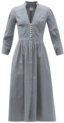 ZEUS + DIONE Flora Striped Denim Midi Dress - Blue