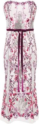 Marchesa Notte Strapless Velvet-trimmed Embellished Tulle Midi Dress