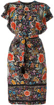 Roberto Cavalli belted ruffle sleeve dress - women - Silk - 42