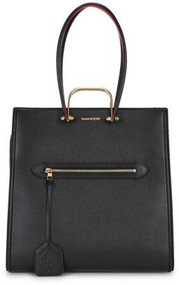 Alexander McQueen The Tall Story black leather tote
