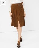 White House Black Market Petite Suede Wrap Skirt