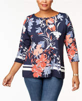 Charter Club Plus Size Printed Split-Neck Top, Created for Macy's