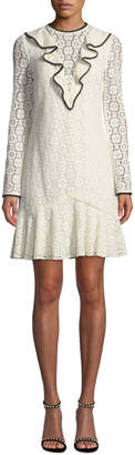 Monique Lhuillier Long-Sleeve Lace Dress w/ Ruffle Front