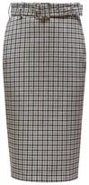 Altuzarra Rice Belted Checked Pencil Skirt - Womens - Black White