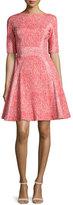 Lela Rose Half-Sleeve Fit-&-Flare Dress, Red