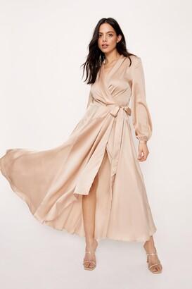 Nasty Gal Womens V-Neck Satin Wrap Maxi Dress - Rose
