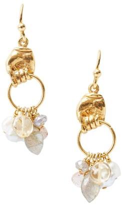 Chan Luu 18K Goldplated, 4MM Mixed Pearl & Mixed-Stone Charm Hoop Earrings