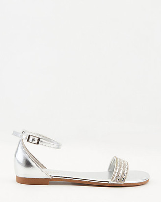 Le Château Metallic Jewel Embellished Open Toe Flat