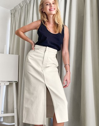 And other stories & organic cotton split front midi skirt in cream