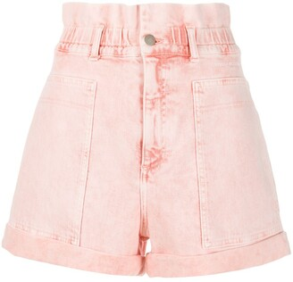 Stella McCartney Distressed High-Rise Denim Shorts