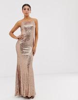 Club L London square neck sequin maxi dress
