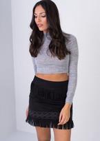 Missy Empire Malita Black Tassel Suede Mini Skirt