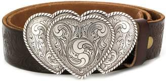 Jessie Western triple heart buckle embossed belt