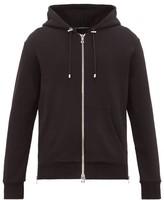 Balmain - Flocked Logo Zip Through Cotton Hooded Sweatshirt - Mens - Black