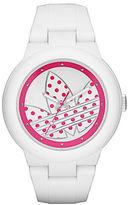 adidas Matte White Silicone Pink Logo-Print Watch