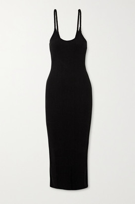 The Range Division Braided Ribbed Stretch-jersey Midi Dress - Black