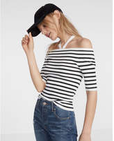 Express Striped Strappy Off The Shoulder Pullover Sweater