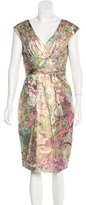 Monique Lhuillier Metallic-Accented Sheath Dress
