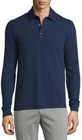 Loro Piana Comfort Piqué; Long-Sleeve Polo Shirt