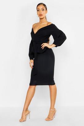 boohoo Off The Shoulder Wrap Peplum Midi Dress