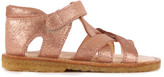 Angulus Sale - Velcro Crossed Suede Glitter Sandals