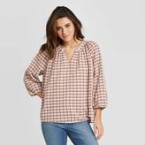 Universal Thread Women's Plaid Long Sleeve V-Neck Shirt - Universal ThreadTM