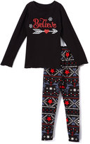 Beary Basics Red 'Believe' Long-Sleeve Tee & Leggings - Toddler & Girls