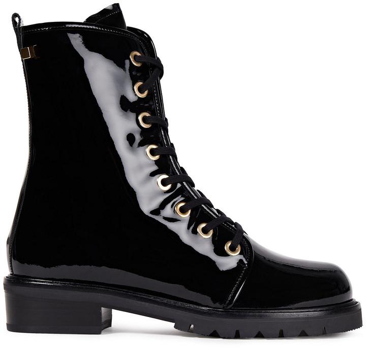 Stuart Weitzman Metermaid Patent-leather Combat Boots